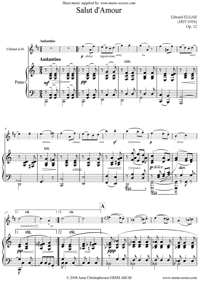 Front page of Salut dAmour: Clarinet sheet music