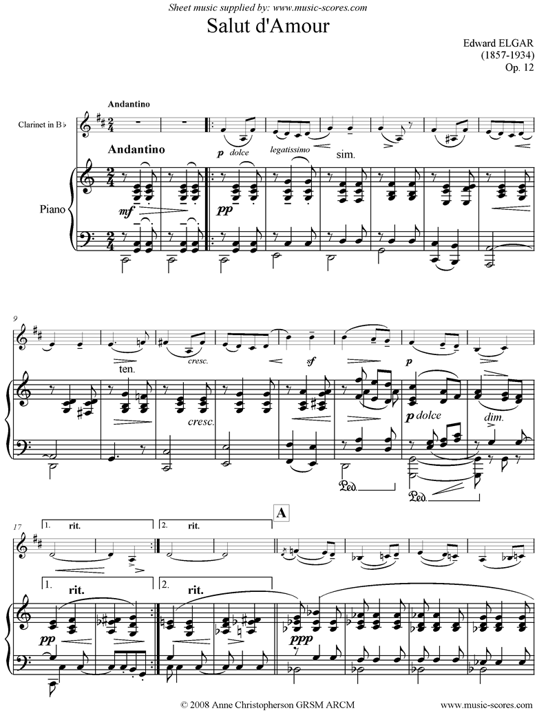 Salut dAmour: Clarinet, Octave lower by Elgar