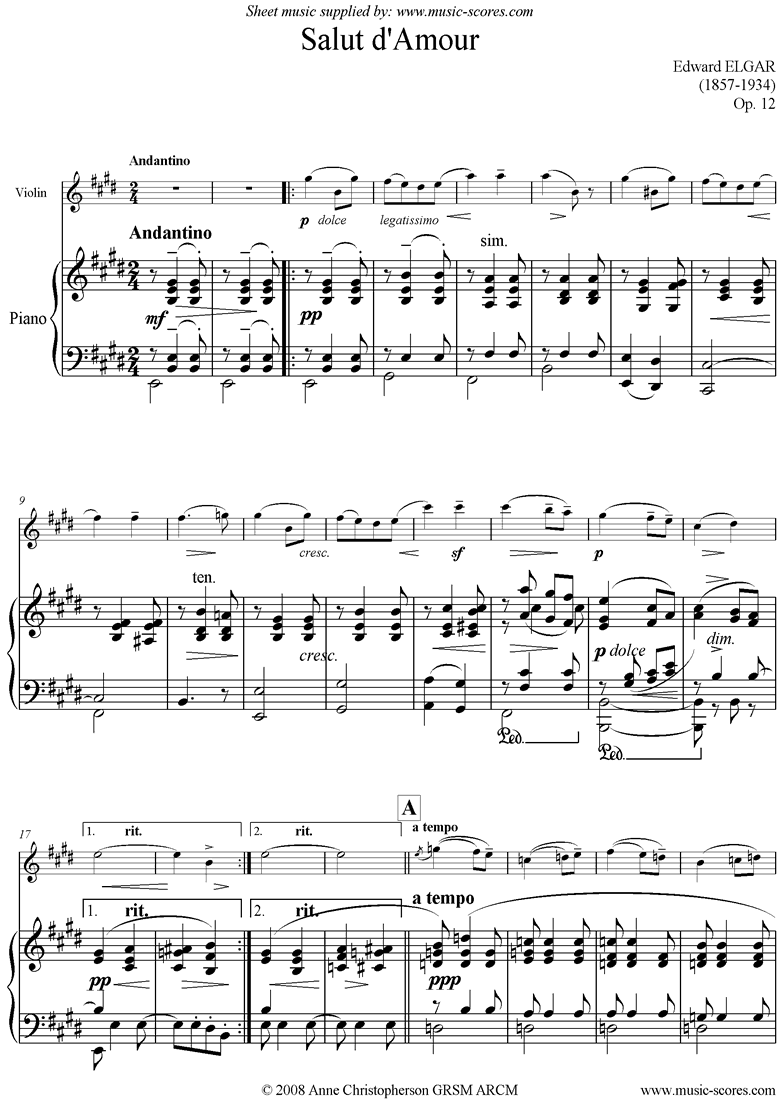 Front page of Salut dAmour: Violin sheet music