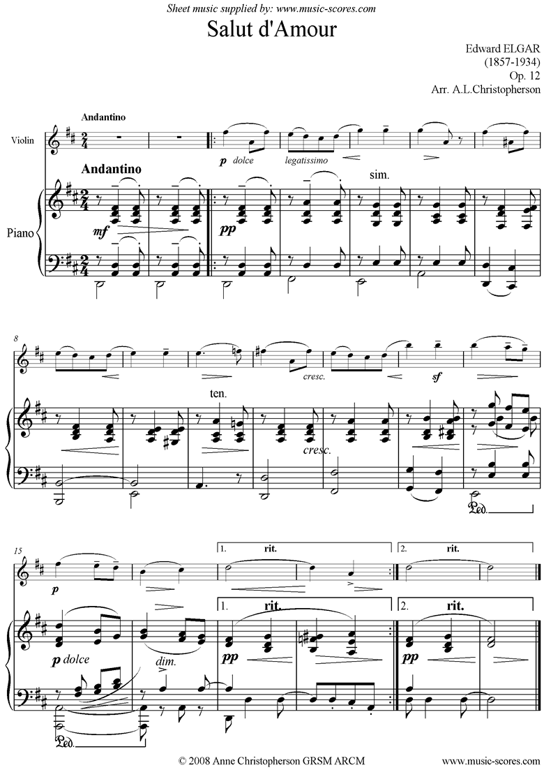Front page of Salut dAmour: Easier Violin sheet music