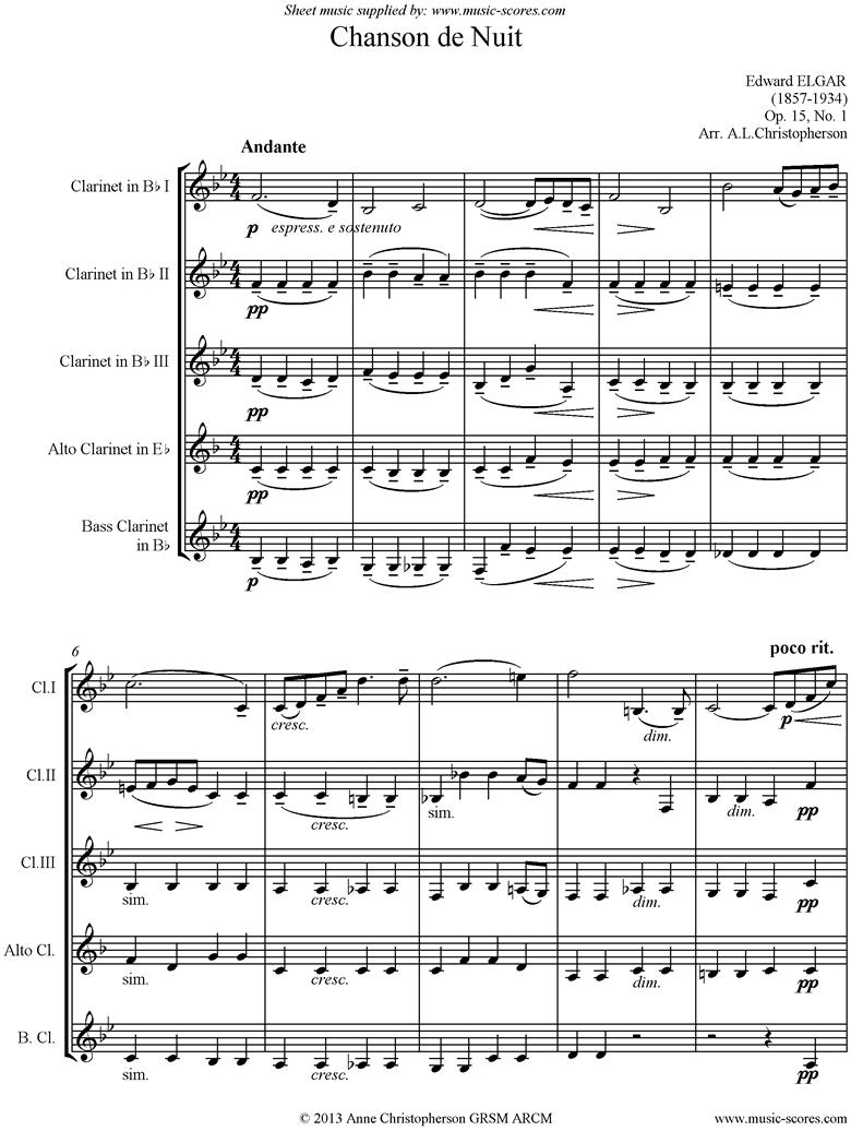 Chanson de Nuit: Clarinet quintet by Elgar
