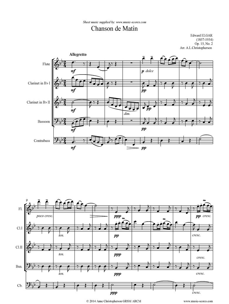 Front page of Chanson de Matin: Flute, 2 Clarinets, Bassoon, Double Bass sheet music