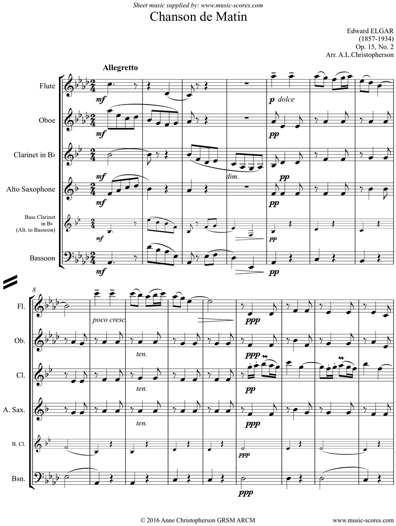 Front page of Chanson de Matin: Wind ensemble sheet music