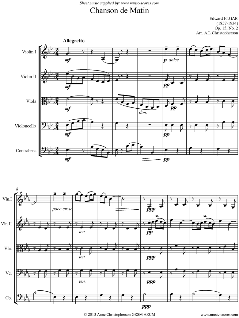 Front page of Chanson de Matin: String ensemble sheet music