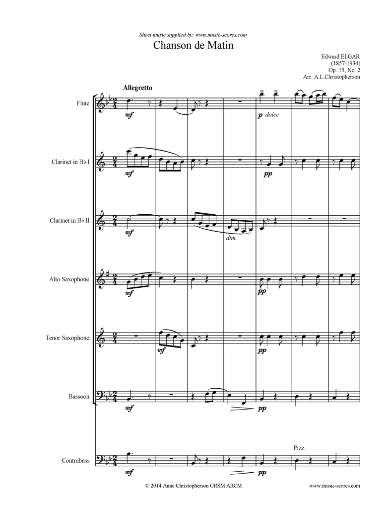 Front page of Chanson de Matin: Flute, 2 Clarinets, Alto Tenor Sax, Bassoon, Double Bass sheet music