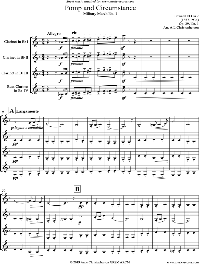 Front page of Land of Hope and Glory: Clarinet Quartet sheet music