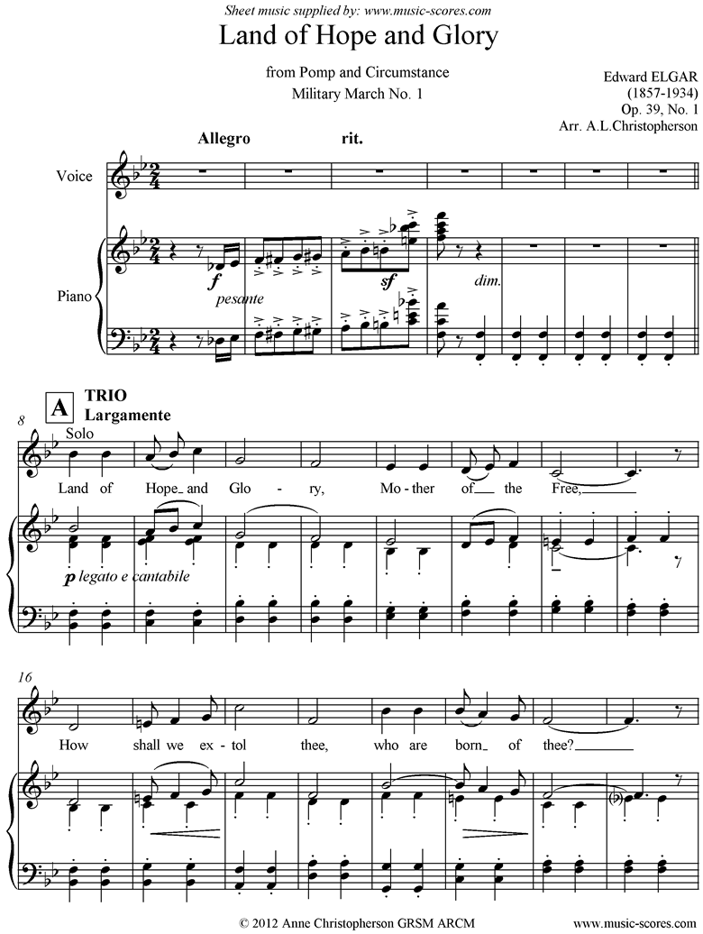 Front page of Land of Hope and Glory: Voice, Piano sheet music