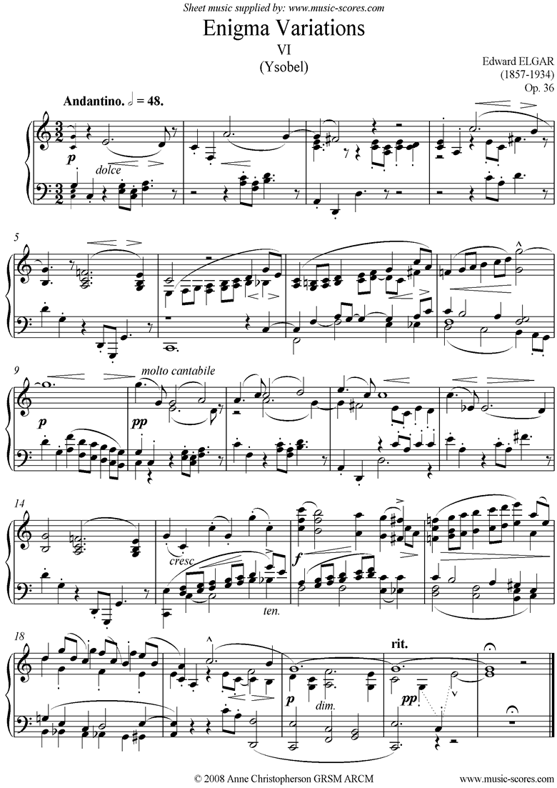 Front page of Enigma Variations: 06: Ysobel sheet music