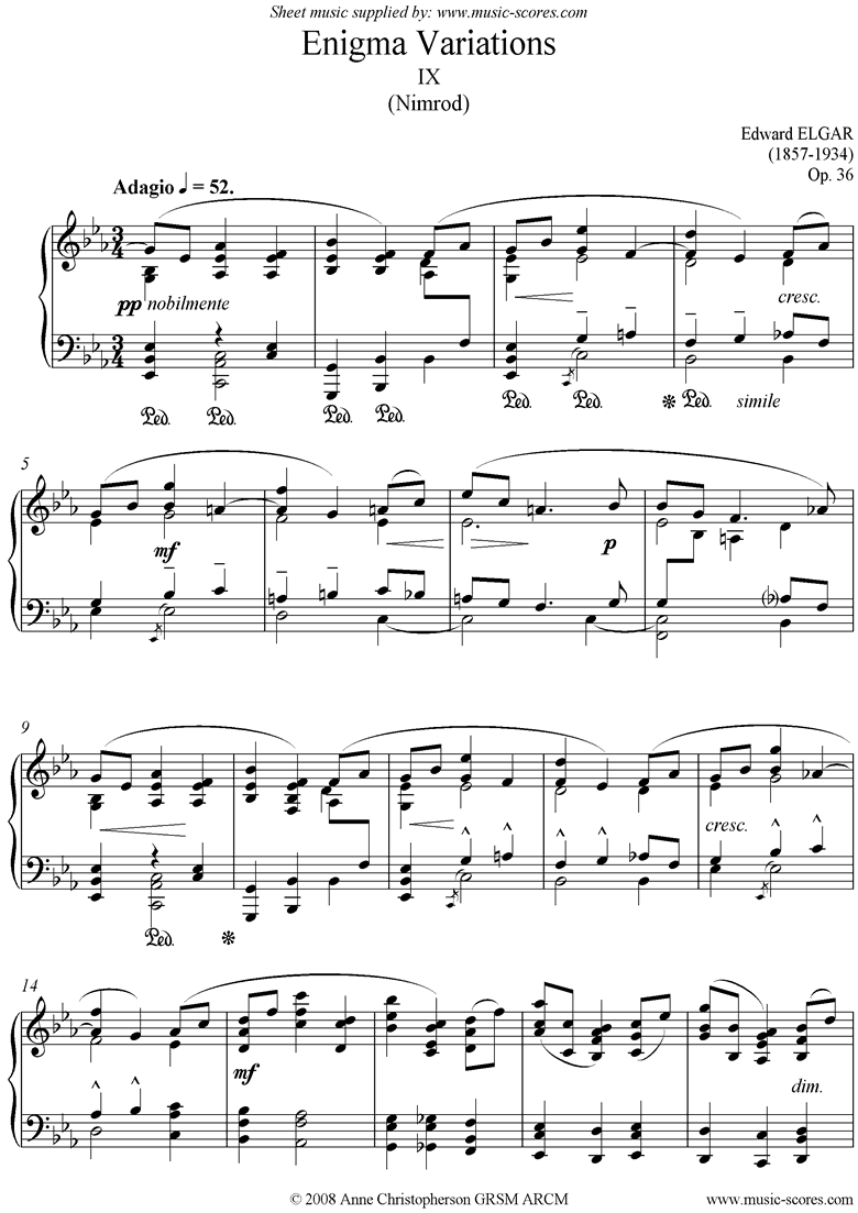 Front page of Enigma Variations: 09: Nimrod sheet music