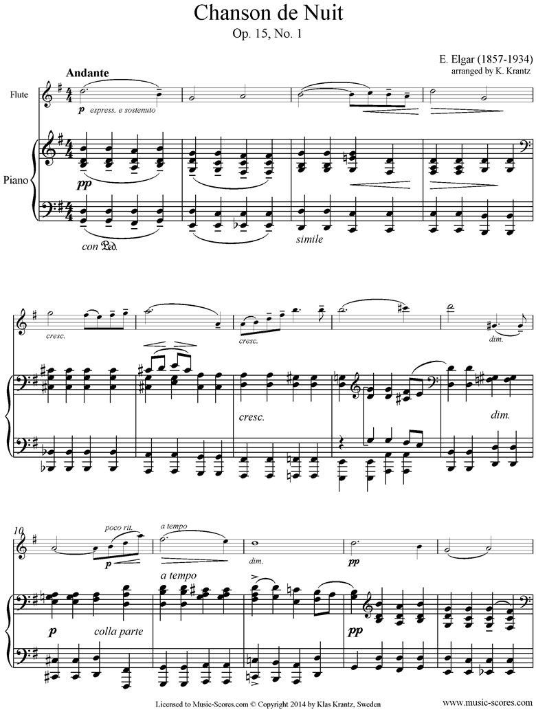 Front page of Chanson de Nuit: Flute, Piano sheet music