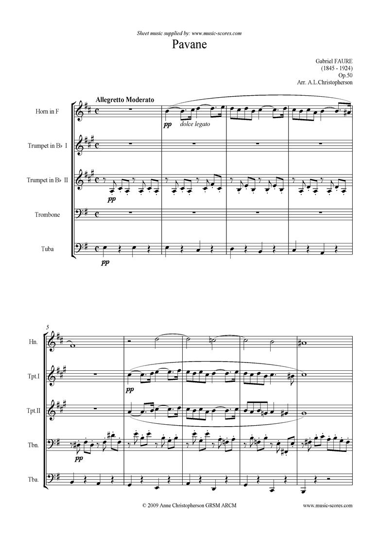 Op.50: Pavane: Brass 5: Horn, 2 Tpts, Tbn, Tuba by Faure