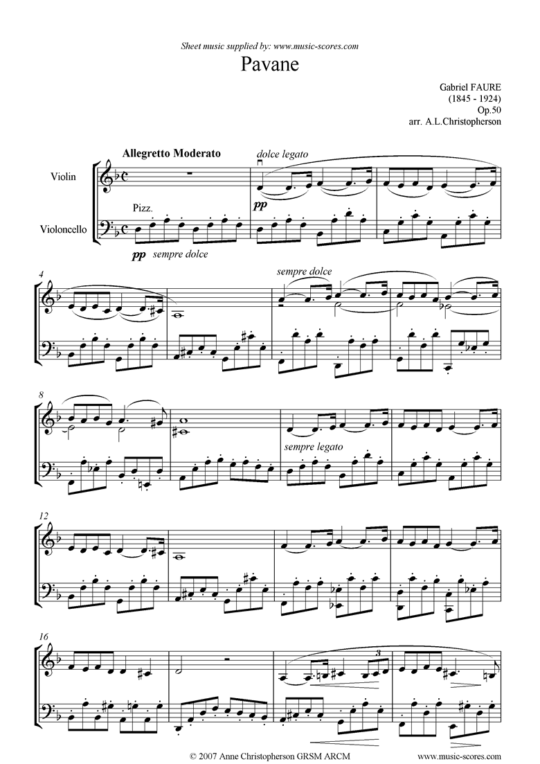 Front page of Op.50: Pavane: Violin and Cello, difficult. sheet music