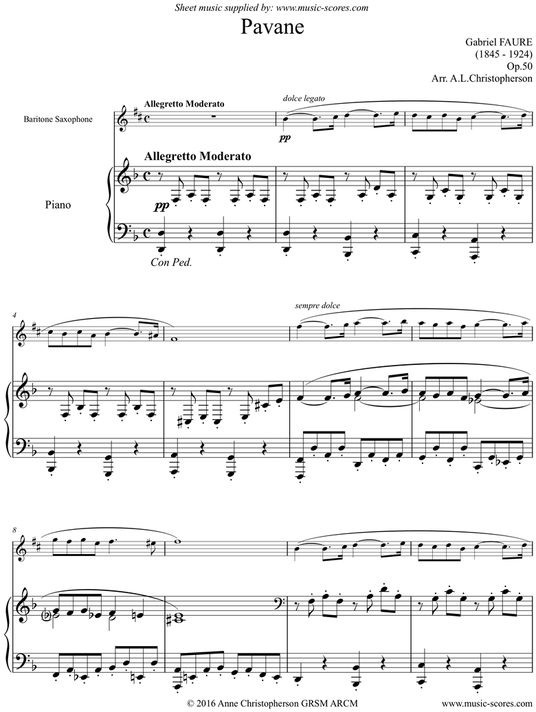 Front page of Op.50: Pavane: Bari Sax sheet music