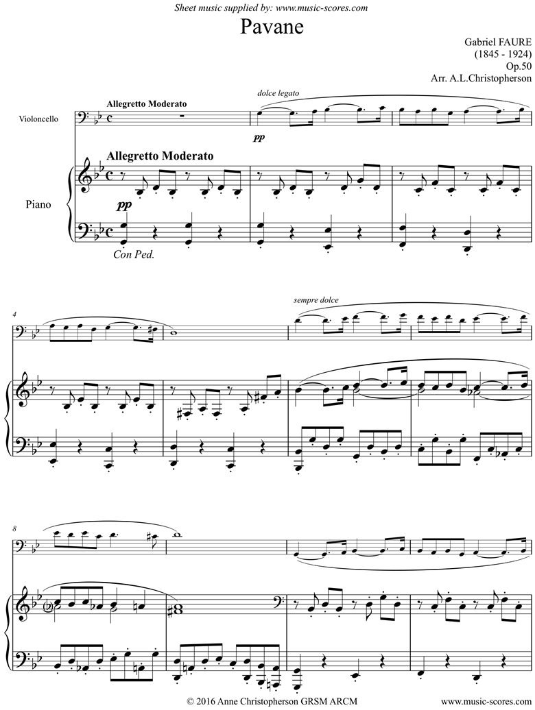 Front page of Op.50: Pavane: Cello sheet music