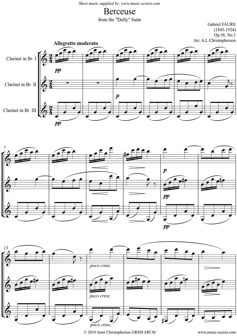 Front page of Op.56, No.1: Berceuse from Dolly Suite: 3 Clarinets sheet music