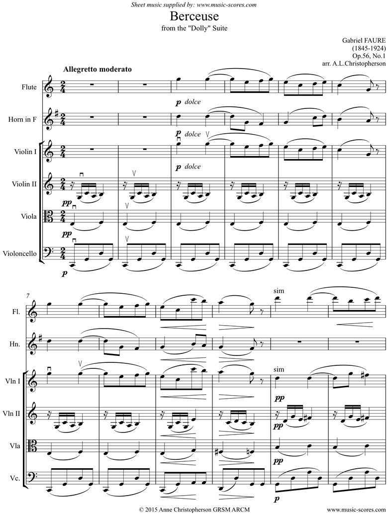 Front page of Op.56, No.1: Berceuse from Dolly Suite: Flute, Horn, Strings sheet music