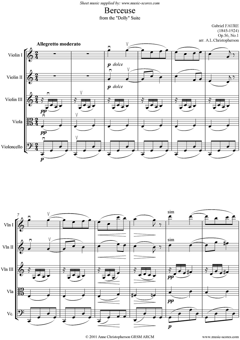 Front page of Op.56, No.1: Berceuse from Dolly Suite: Strings sheet music