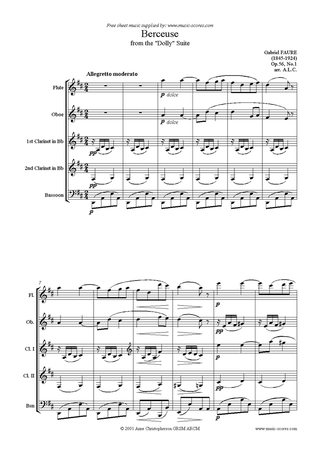 Front page of Op.56, No.1: Berceuse from Dolly Suite: Wind sheet music