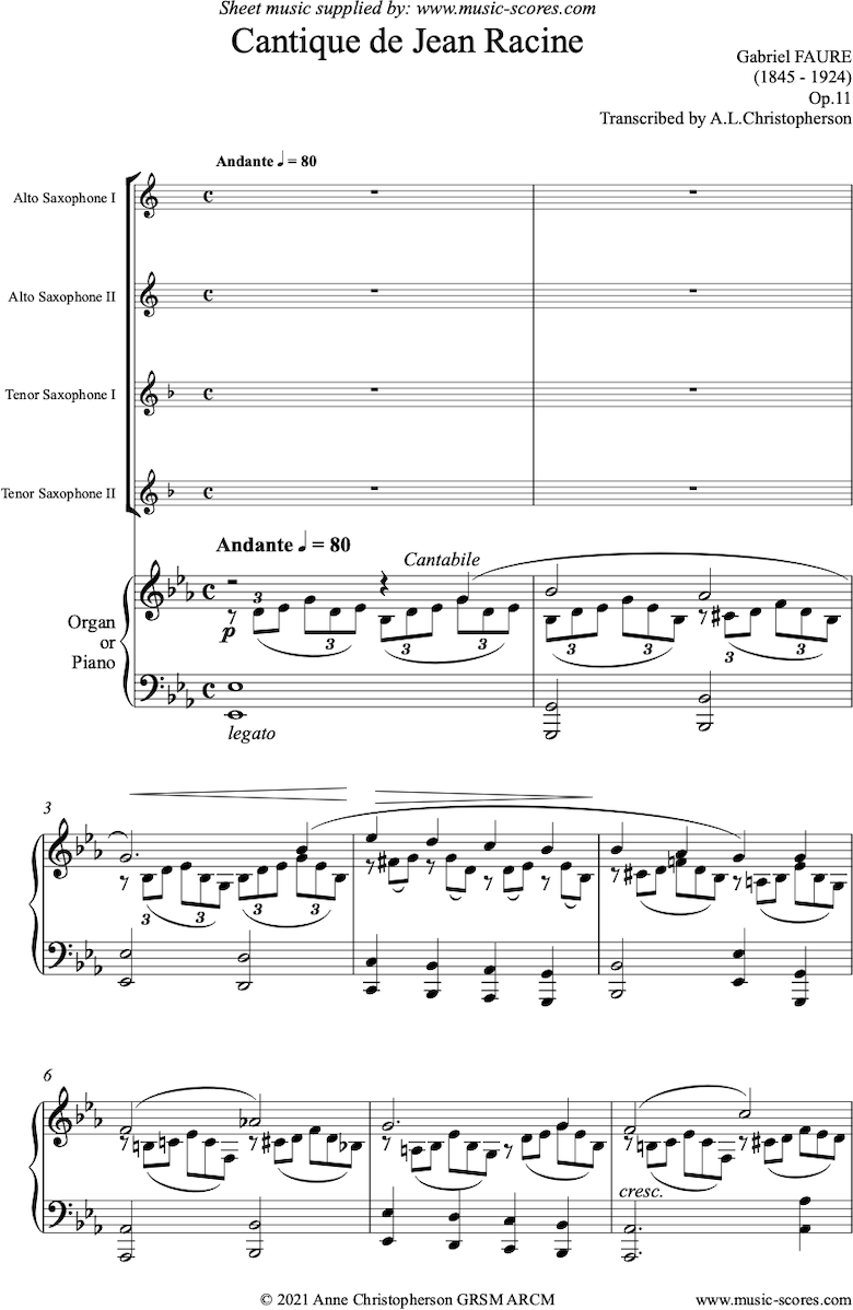 Front page of Op.11: Cantique de Jean Racine: 2 Alto Saxes, 2 Tenor Saxes and Piano or Organ sheet music