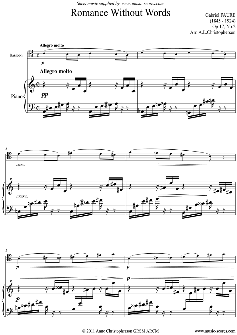 Front page of Op.17, No.2: Romance Without Words: Bassoon sheet music