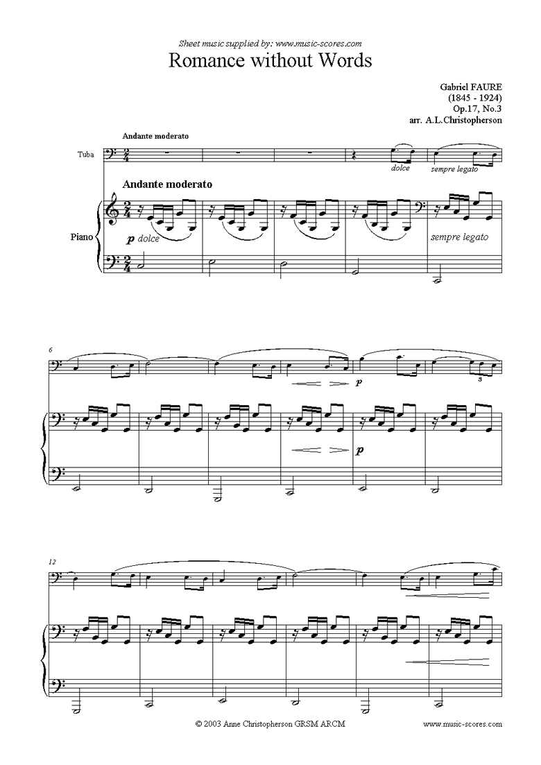 Front page of Op.17, No.3: Romance Without Words: Tuba sheet music
