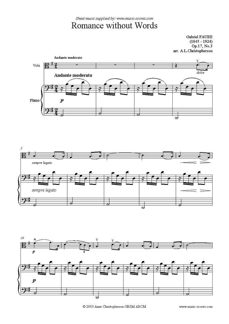 Front page of Op.17, No.3: Romance Without Words: Viola sheet music