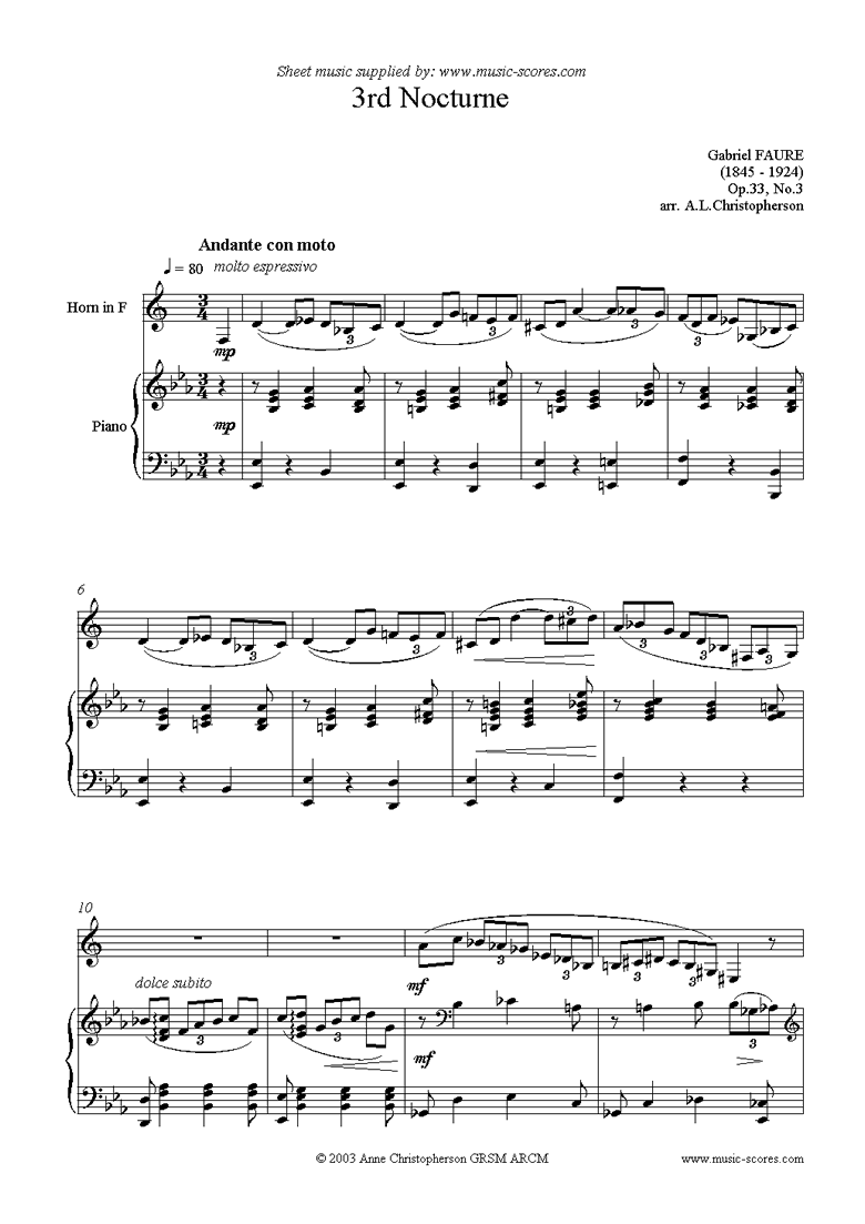 Front page of Op.33: Nocturne No.3 in Ab: French Horn, Piano sheet music