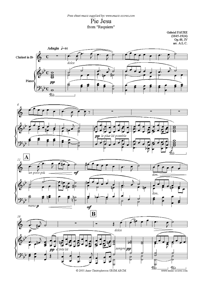 Front page of Op.48: Pie Jesu from Fauré Requiem: Clarinet, Piano sheet music