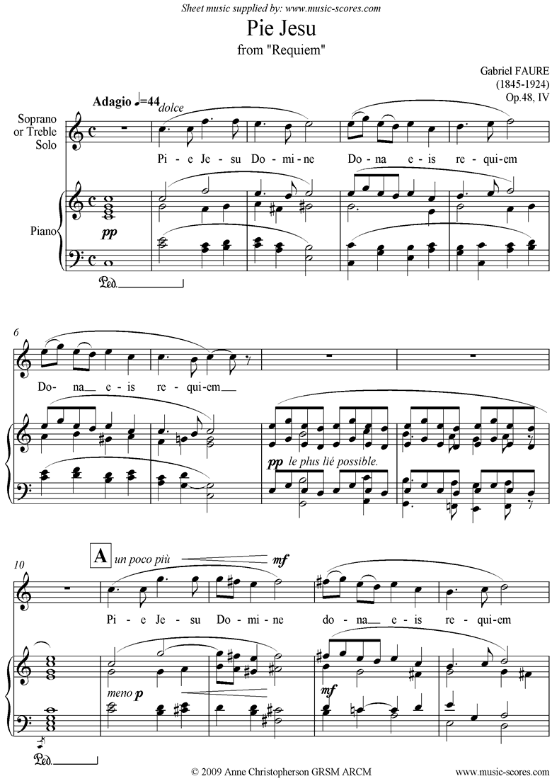 Front page of Op.48: Pie Jesu from Fauré Requiem: Voice: C ma sheet music