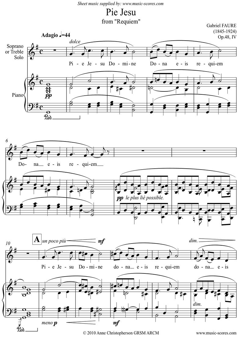 Op.48: Pie Jesu from Faur� Requiem: Voice: G major by Faure