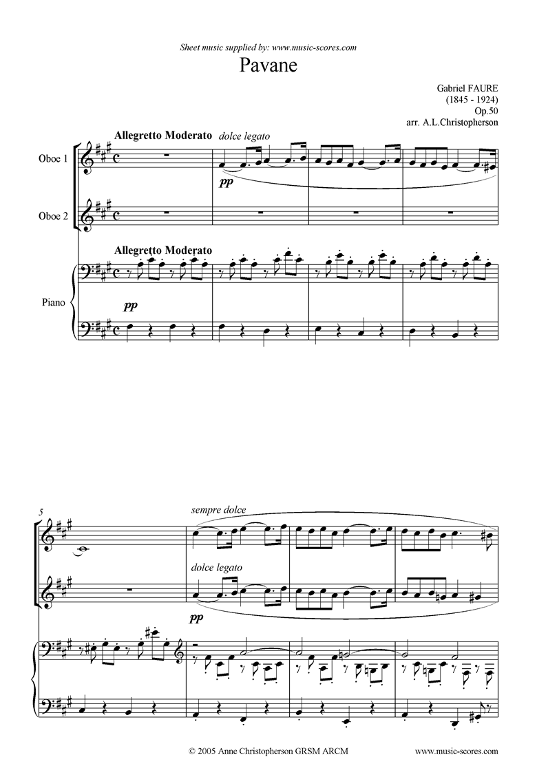 Front page of Op.50: Pavane: 2 Oboes sheet music