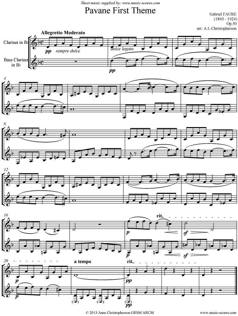 Front page of Op.50: Pavane: Clarinet and Bass Clarinet unaccompanied sheet music