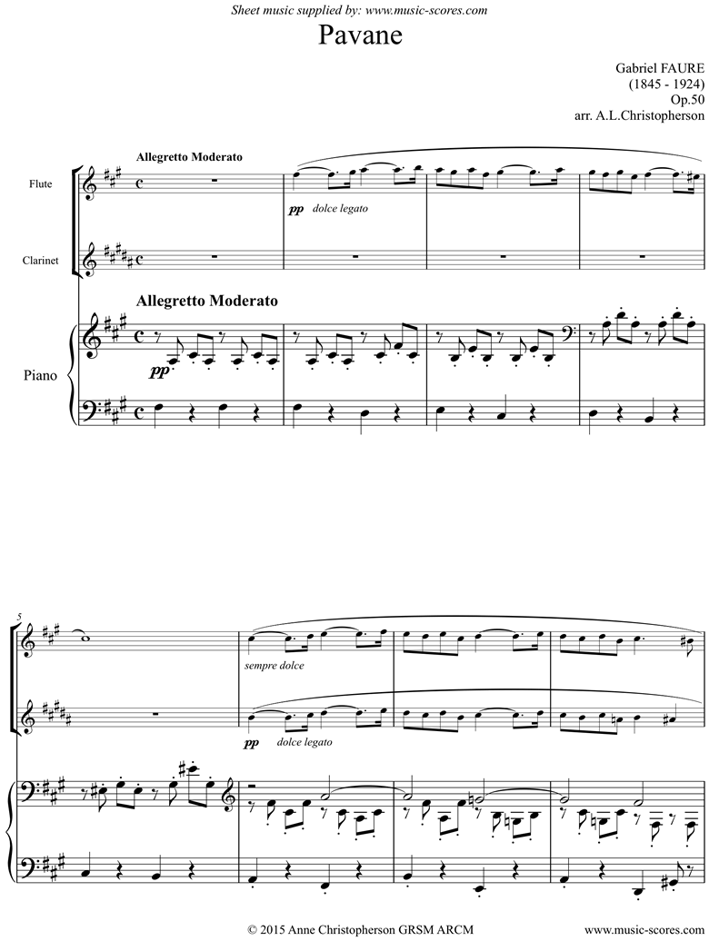 Front page of Op.50: Pavane: Flute, Clarinet and Piano. F sharp mi sheet music