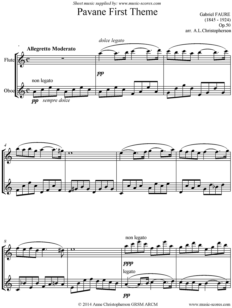 Front page of Op.50: Pavane: Flute , Oboe unaccompanied sheet music