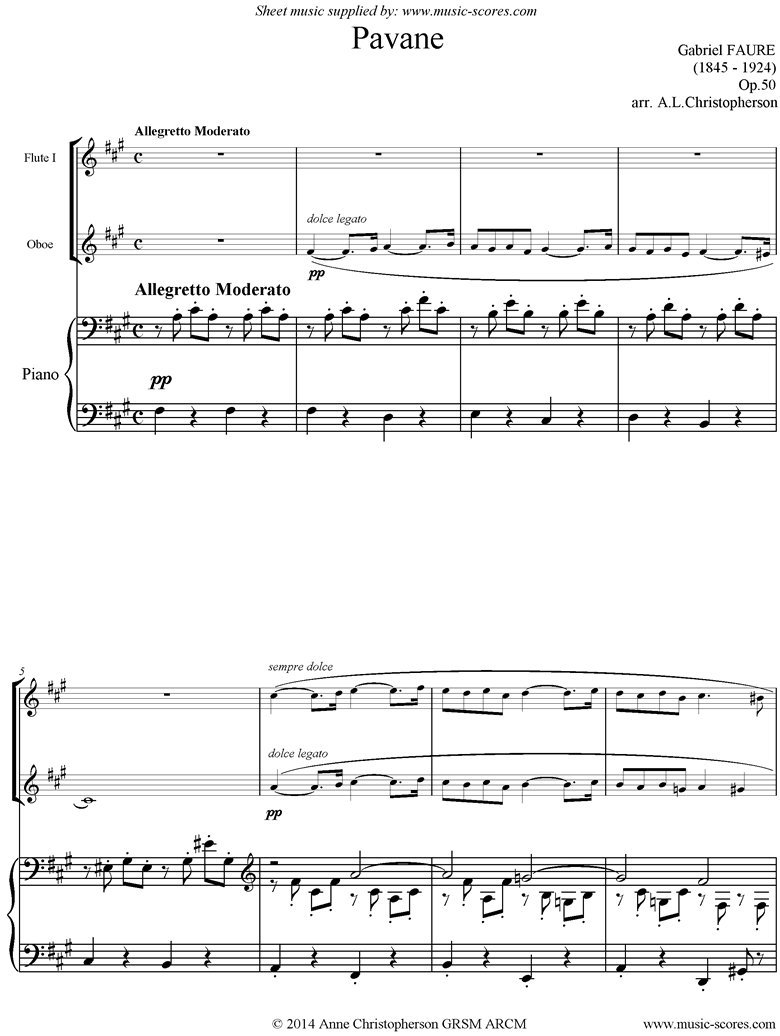 Front page of Op.50: Pavane: Flute, Oboe and Piano sheet music