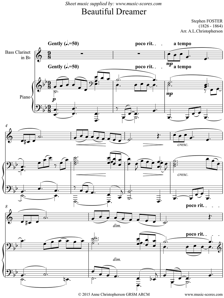 Front page of Beautiful Dreamer: Bass Clarinet sheet music