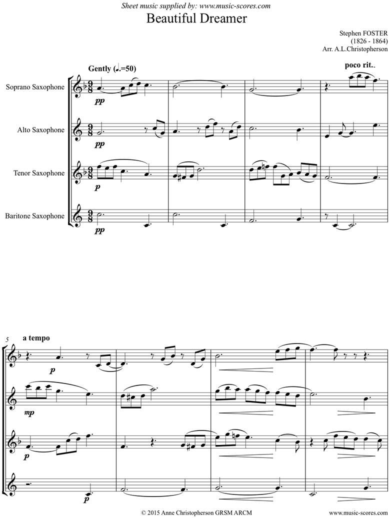 Beautiful Dreamer: Sax Quartet by Foster