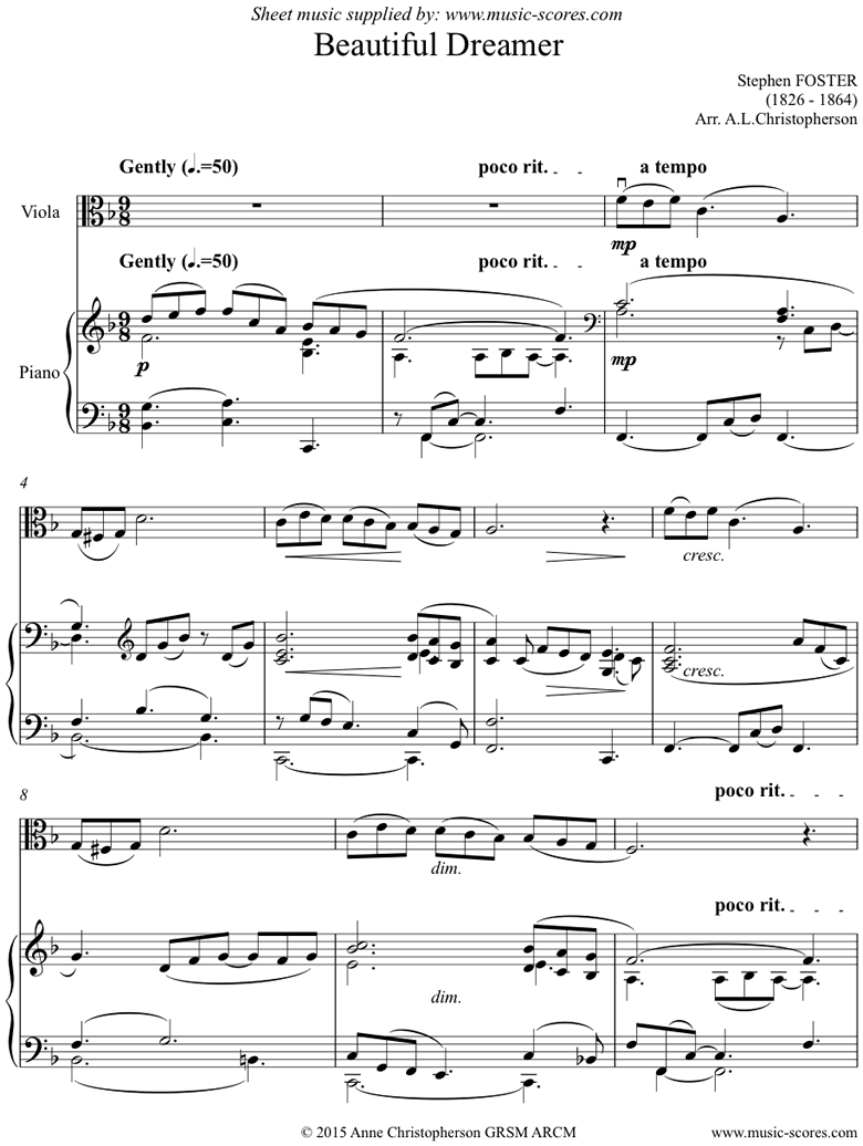 Front page of Beautiful Dreamer: Viola sheet music