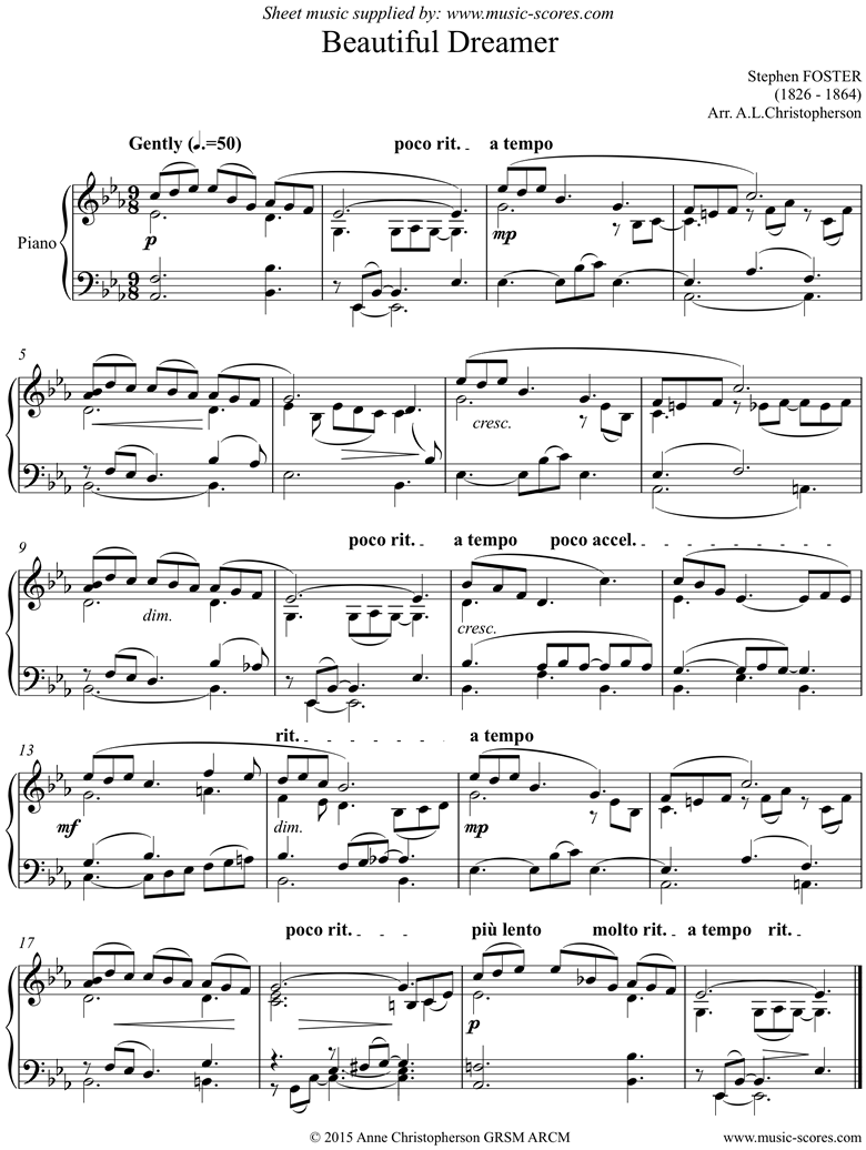 Front page of Beautiful Dreamer: Piano sheet music