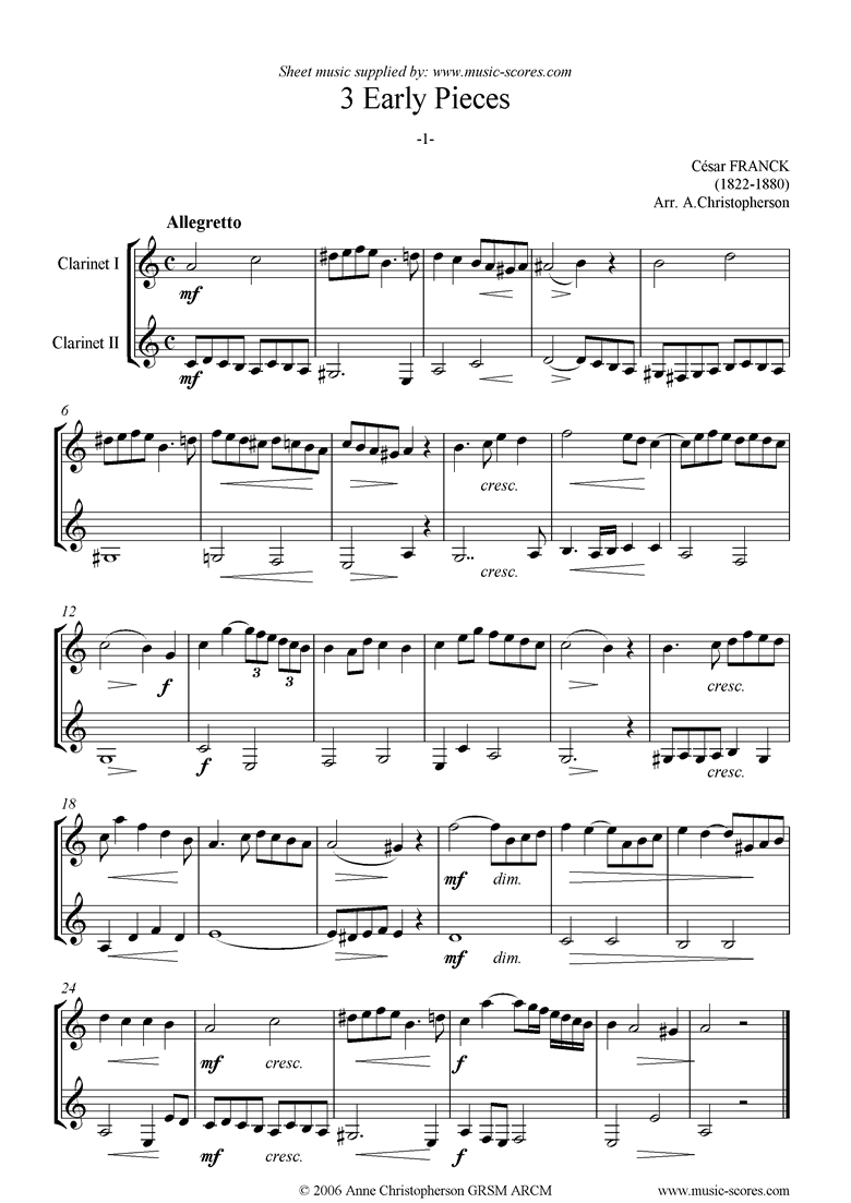 Front page of 3 Early Pieces: No.1: 2 Clarinets sheet music