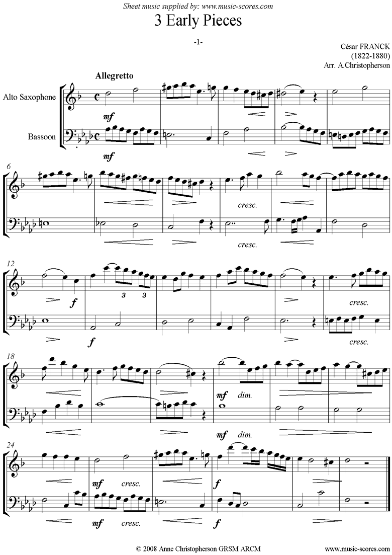 Front page of 3 Early Pieces: No.1: Alto Sax and Bassoon sheet music