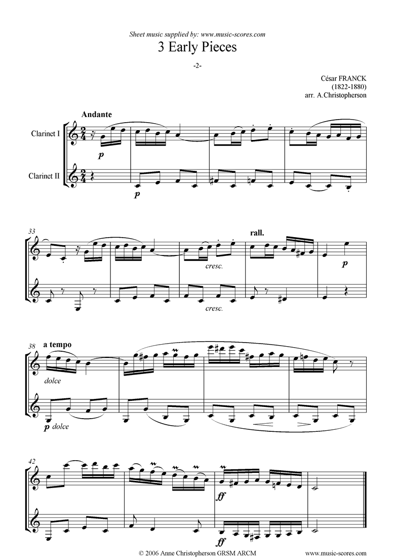 Front page of 3 Early Pieces: No.2: 2 Clarinets sheet music