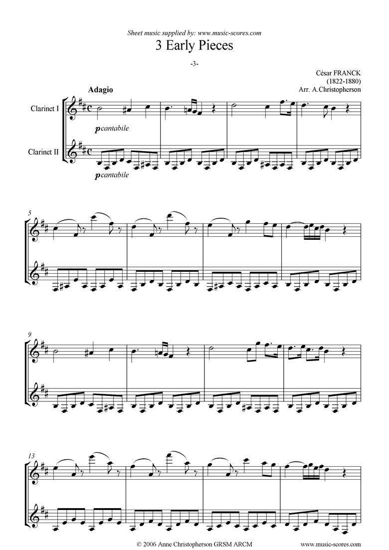 Front page of 3 Early Pieces: No.3: 2 Clarinets sheet music
