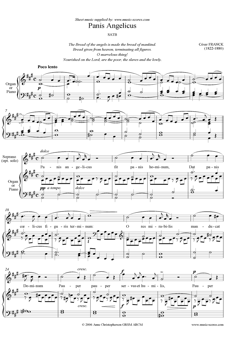 Front page of Panis Angelicus:  Choir SATB: A ma sheet music