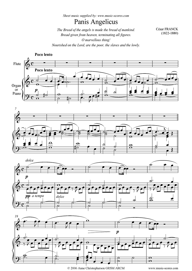Front page of Panis Angelicus:  Flute and Organ sheet music