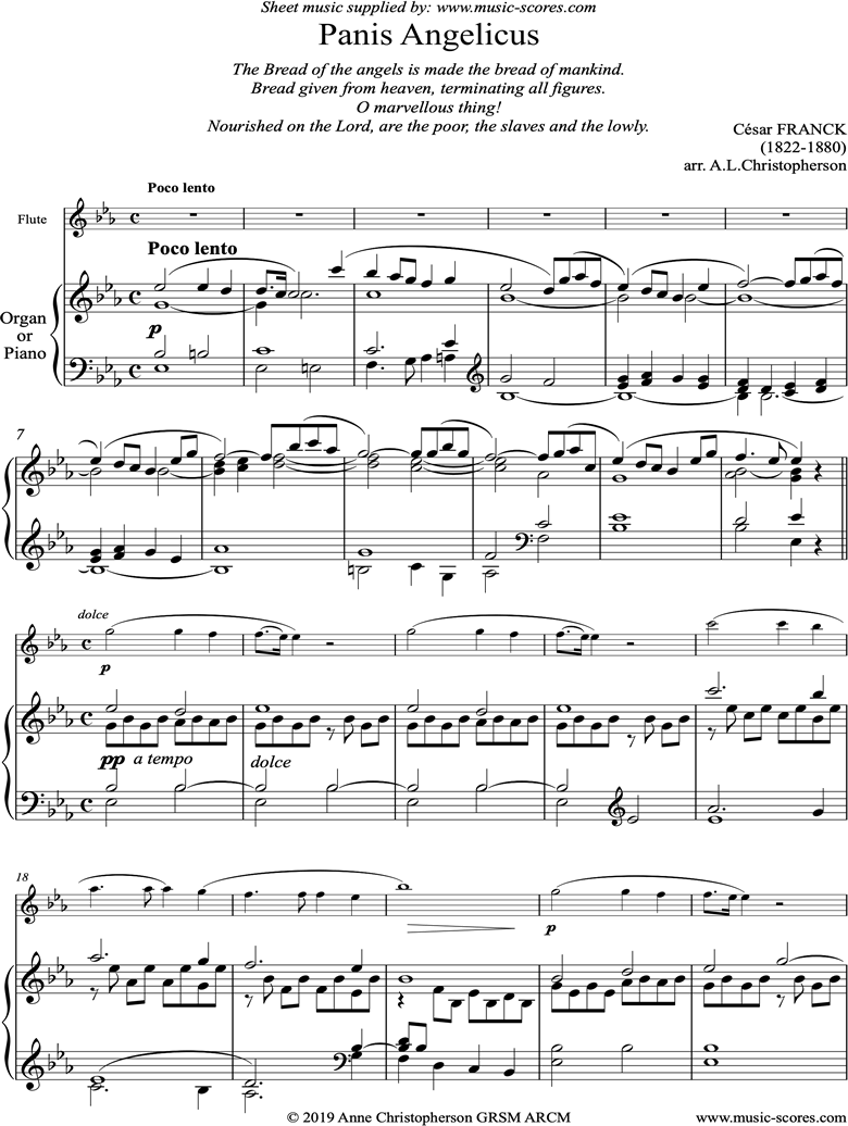Panis Angelicus:  Flute and Organ Eb by Franck