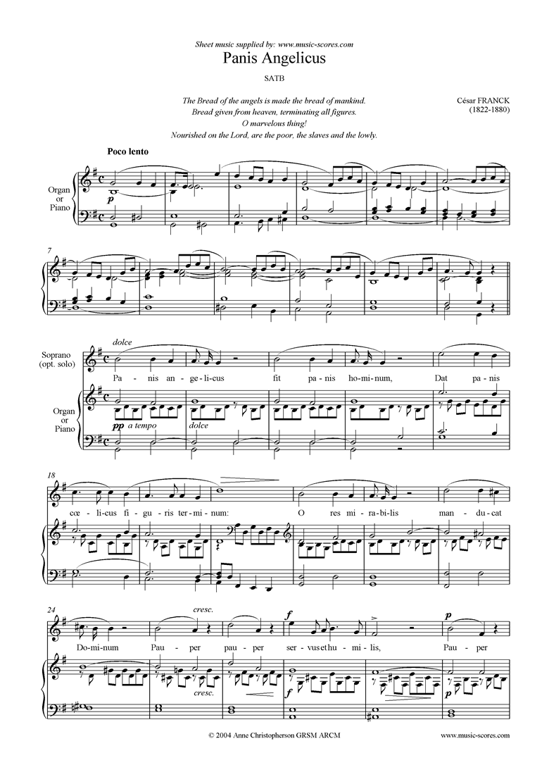 Front page of Panis Angelicus:   Choir SATB sheet music