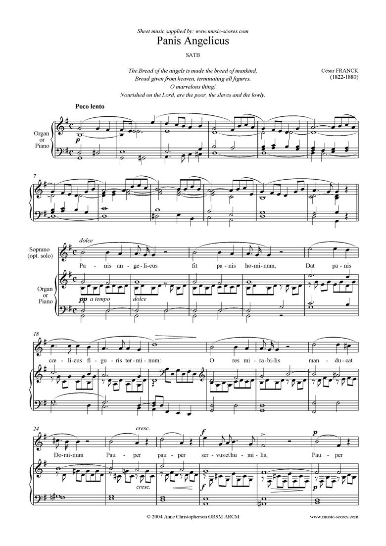 Panis Angelicus:   Choir SATB by Franck
