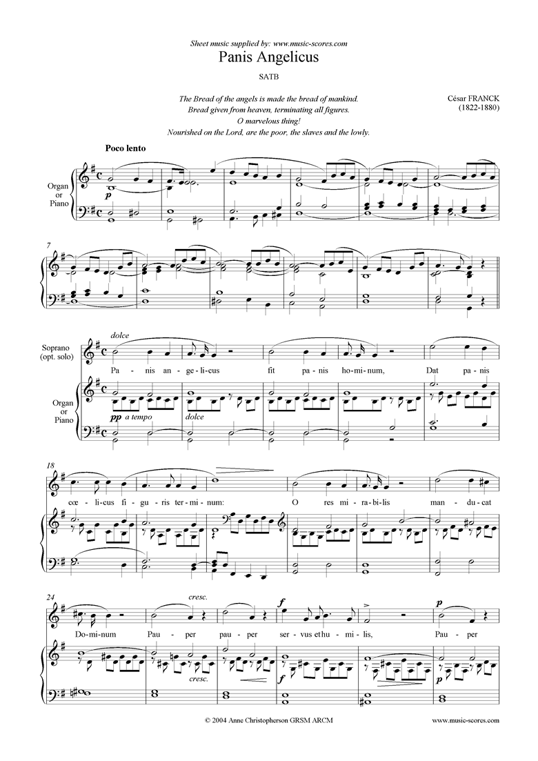 Panis Angelicus:   Choir SSAA by Franck