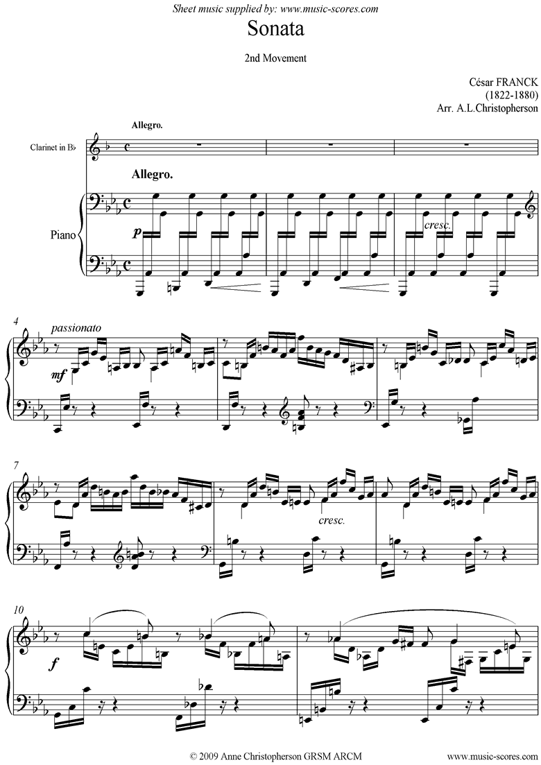 Front page of Sonata: 2nd Mvt: Allegro: Clarinet sheet music